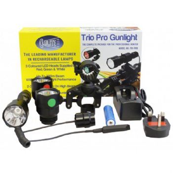 Clulite Trio Pro Red-Green-White LED Torch Gunlight Lamping Kit 300m Range Beam